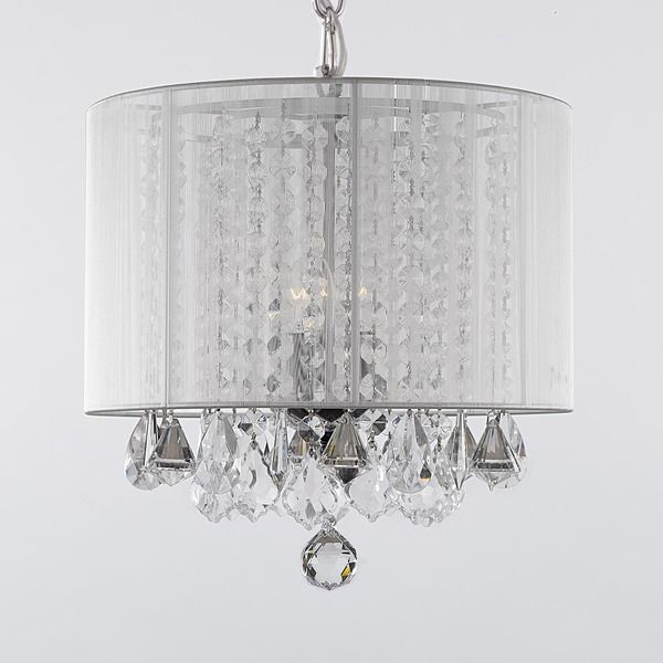 Gallery 3 Light Crystal Chandelier With Shade (white) (Cotton). Chandelier  With ShadesChandelier IdeasDining Room ...