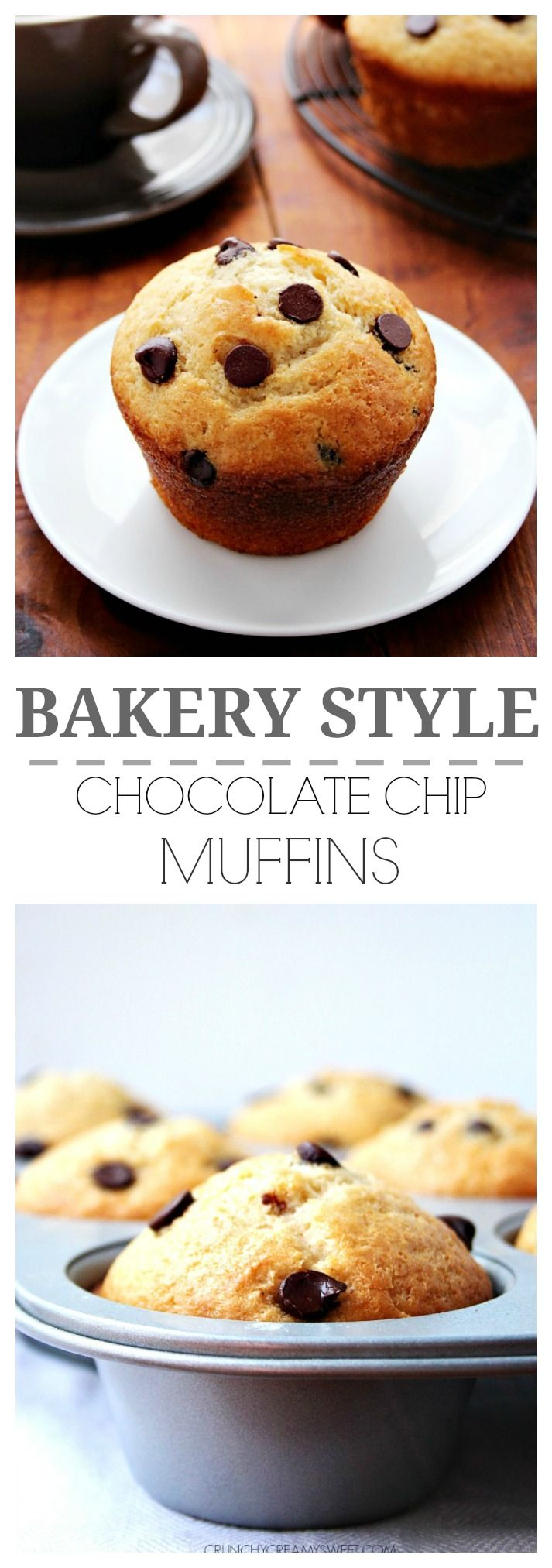 Perfect Bakery Style Chocolate Chip Muffins that you can bake at home! crunchycreamysweet.com