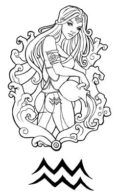 zodiac aquarius colouring page