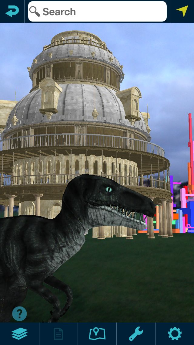 Our Augview raptor running into the shot and in the background is our Augview cathedral.