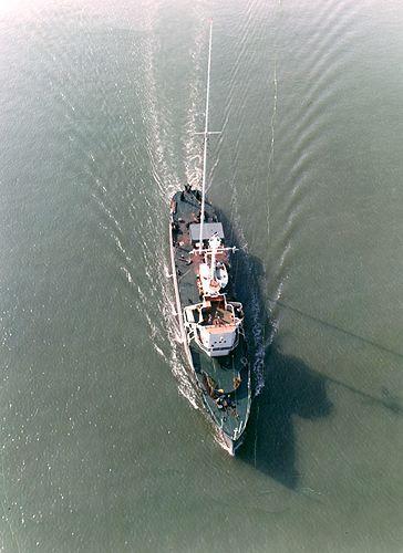 Radio London's ship MV Galaxy on the move