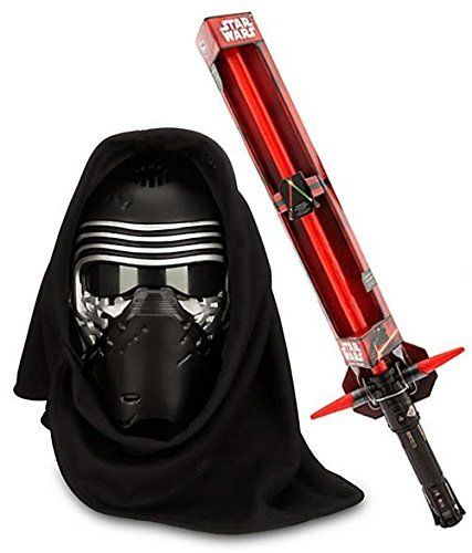 Kylo Ren Voice Changing Mask -The Force Awakens and Exclusive Electronic Lightsaber It is a half helmet  but the cowl covers the back.
