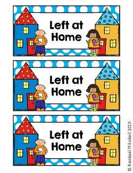 """FREE """"LEFT AT HOME/RIGHT BACK TO SCHOOL"""" LABELS FOR HOMEWORK FOLDERS"""