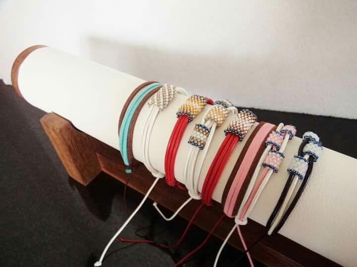 Bracelet - leather and Toho beads