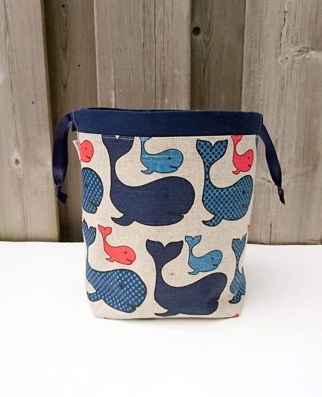 Whale Print Linen Knitting Bag, Sock Knitting Bag, Knitting Tote, Sock Project Bag for two at a time sock knitting - Small Socksack by MyNeedleCrafts on Etsy