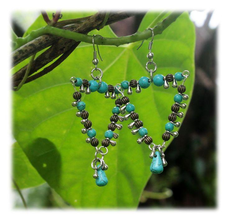 Triangle Dangles / Earrings / turquoise by Malatichan on Etsy