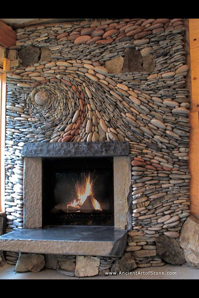 Love natural elements like stone in a home.  Stone with a creative twist.