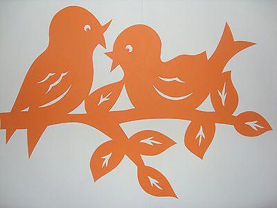 Fensterbild Tonkarton Vogelpaar Vögel auf Ast   filigran orange  33 cm