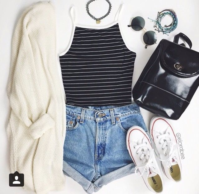 White and black cropped tank, dark blue jean shorts, white knit cardigan and white converse