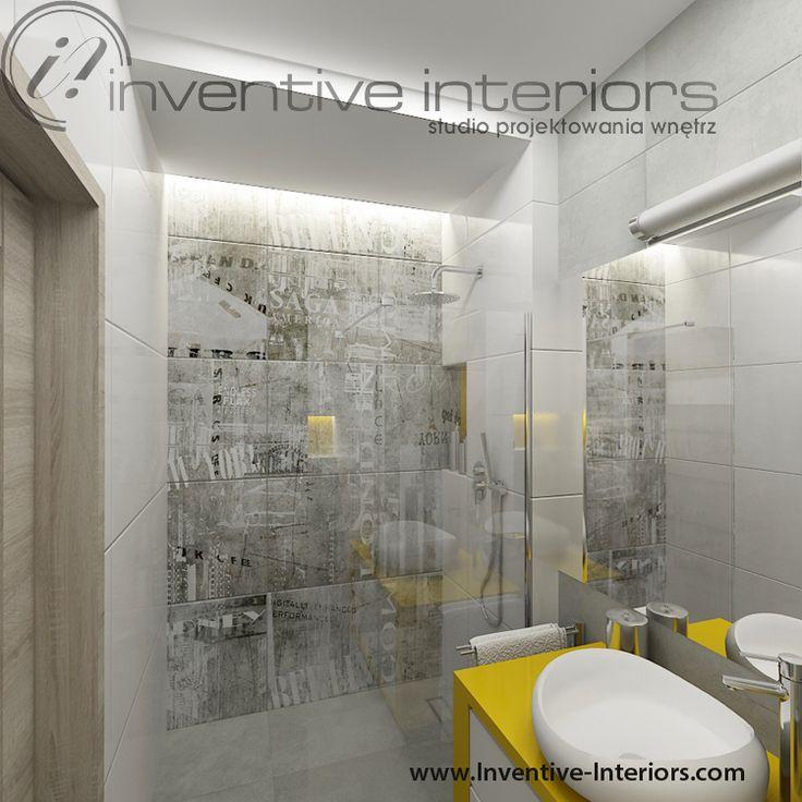 Projekt łazienki Inventive Interiors - płytki imitujące beton w łazience
