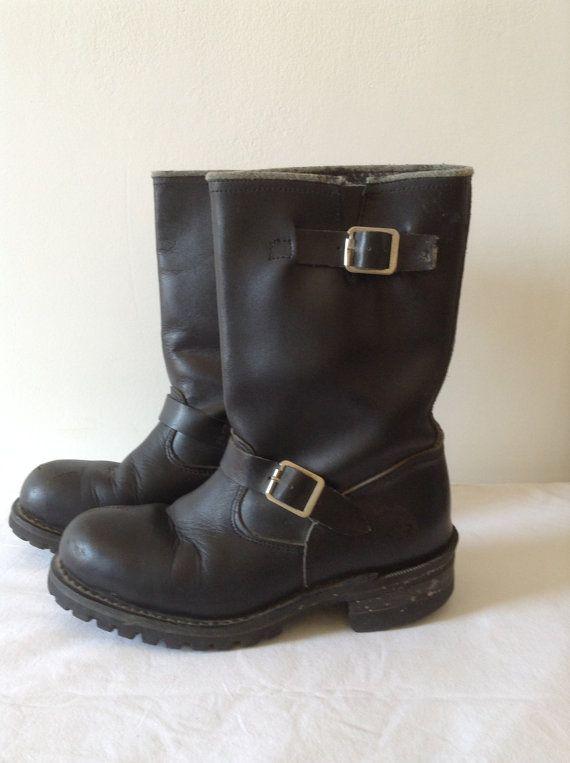 VTG biker boots black leather Sz 5 GRINDERS by laminuinette