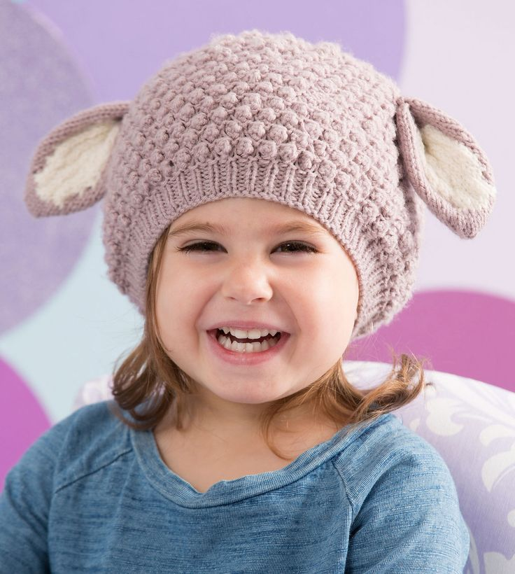 Free Knitting Pattern for Cozy Lamb Hat - Adorable hat for babies and children features an all-over bobble stitch to look like lamb's wool