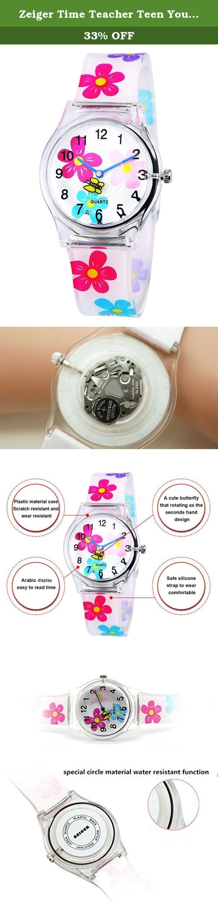Zeiger Time Teacher Teen Young Girls Children Kids Watches, Colorful Flower Resin Band. The Zeiger Kids watch KW009 The Bold Numbers make it easy to read, plus the hour and minute hands are labeled so your child can learn faster. high-grade Silicon suitable for little wrist This is good choice, watches for kid. If you want your child to learn time. That to be a good choice for children Material: • Case Material: Silicon Rubber, Plastic • Band Material: Silicon Rubber • Mirror Surface:...