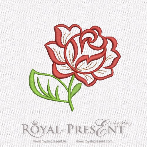 Free Machine Embroidery Design - Rose 3