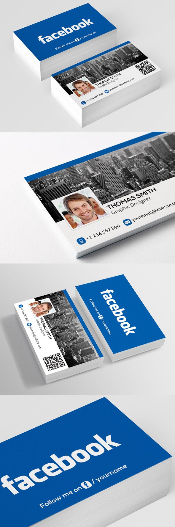 176 best bussiness cards images on pinterest visit cards interesting free facebook business card template with qr code available for download as psd file cheaphphosting Images