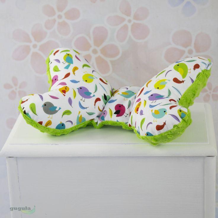 Poduszka motylek minky limonkowy/kolorowe ptaszki