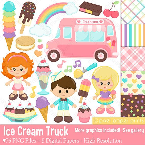 Ice cream truck Clip Art and Digital paper set