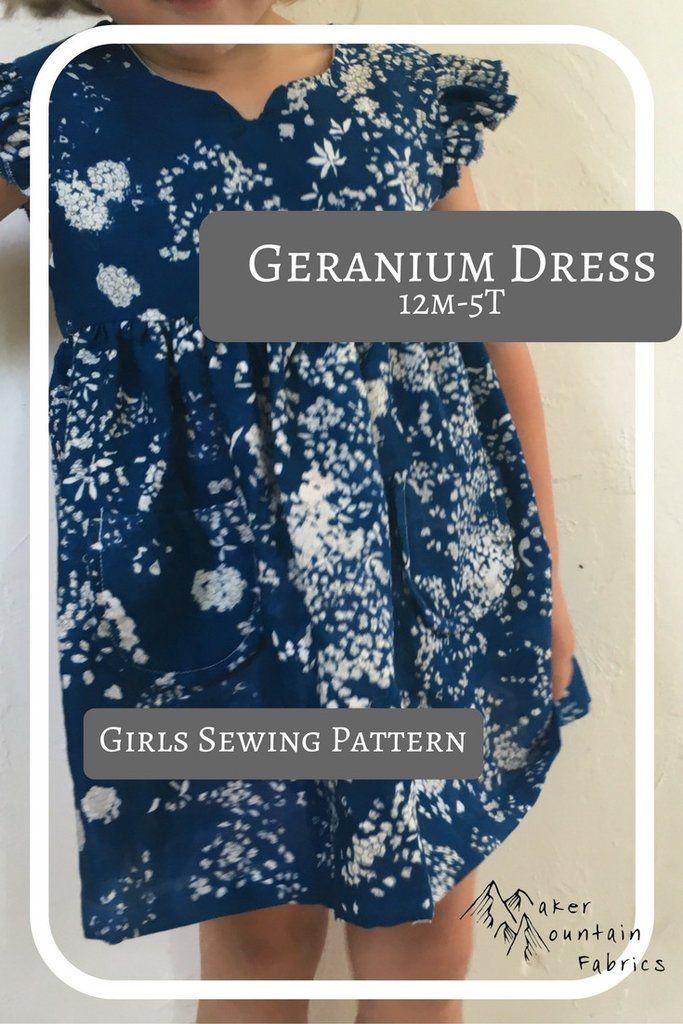 Geranium Dress Pattern by Made By Rae Cutest little girls dress, makes sizes 12m-5T Maker Mountain Fabrics