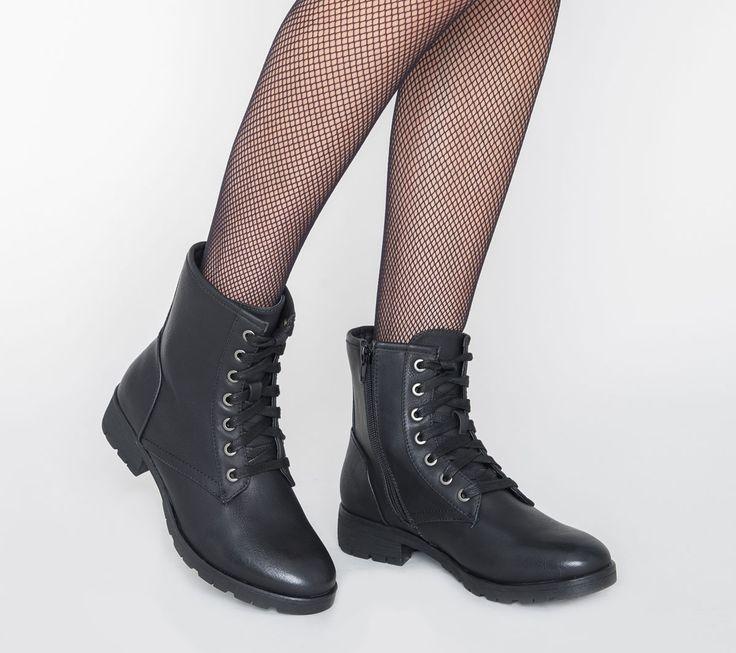 Boots lacets noir - Boots / bottines - Chaussures femme