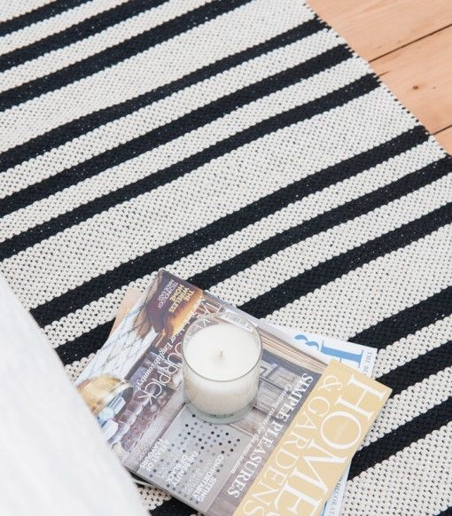 scandinavian-black-and-white cotton rag rug