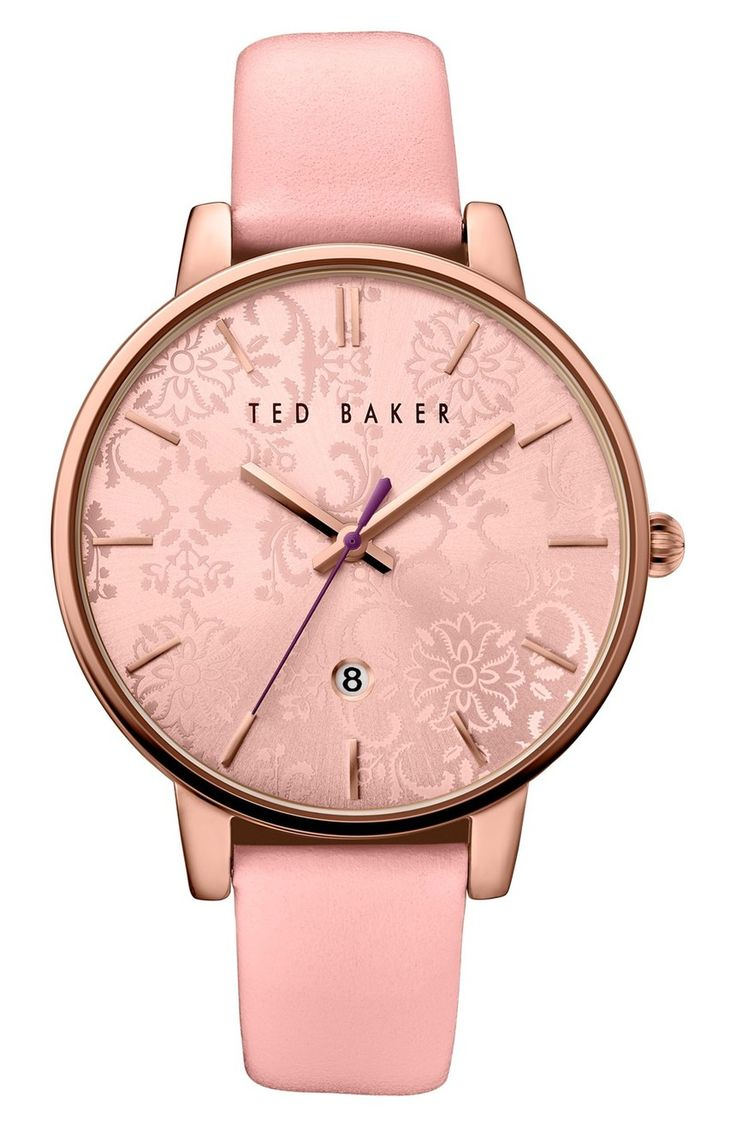 Absolutely swooning over this pink and rose gold watch with a floral-etched dial. This Ted Baker accessory from the Anniversary Sale adds a charming and whimsical touch to any look.