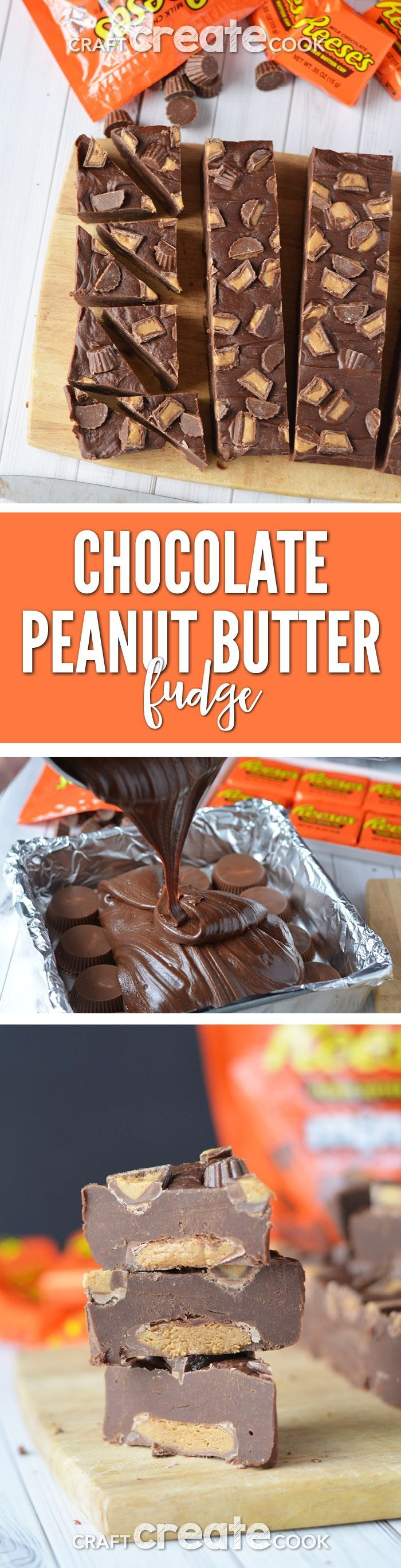 You'll be surprised how easy it is to make this decadent Reese's Chocolate Peanut Butter Fudge.  via @CraftCreatCook1