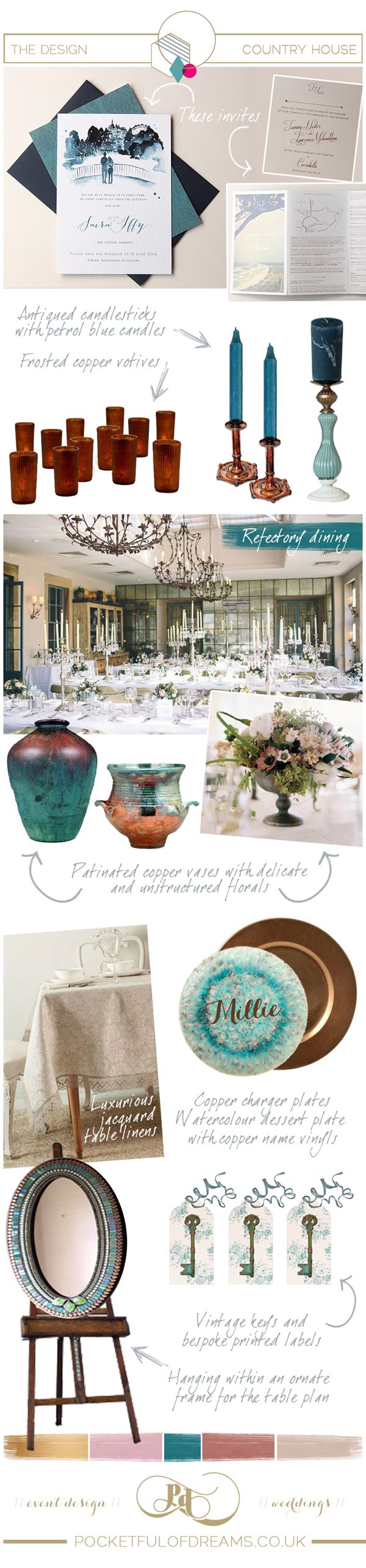 A Pocketful of Dreams designed Country House inspiration board series, inspired by Babington House (sister hotel to Soho House ) where Millie Mackintosh and Professor green got married last week.  Featuring an olde-worlde eclectic style, full of antiqued and patinated treasures and a rich colour palette of petrol blue, dusky pinks and copper.  For full post see Love My Dress