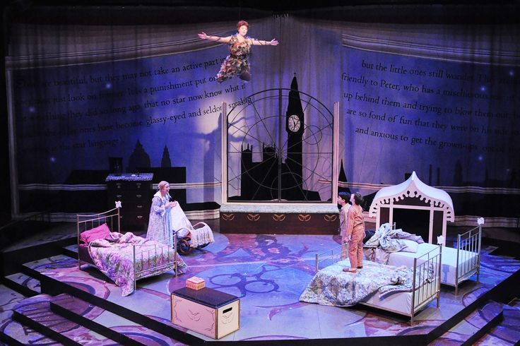 Peter Pan!!!!!  Natasha Harris as Peter Pan, Jillian Van Niel as Wendy, Chase Kelly as John, and Marisa Dinsmoor as Micheal (standing on bed)
