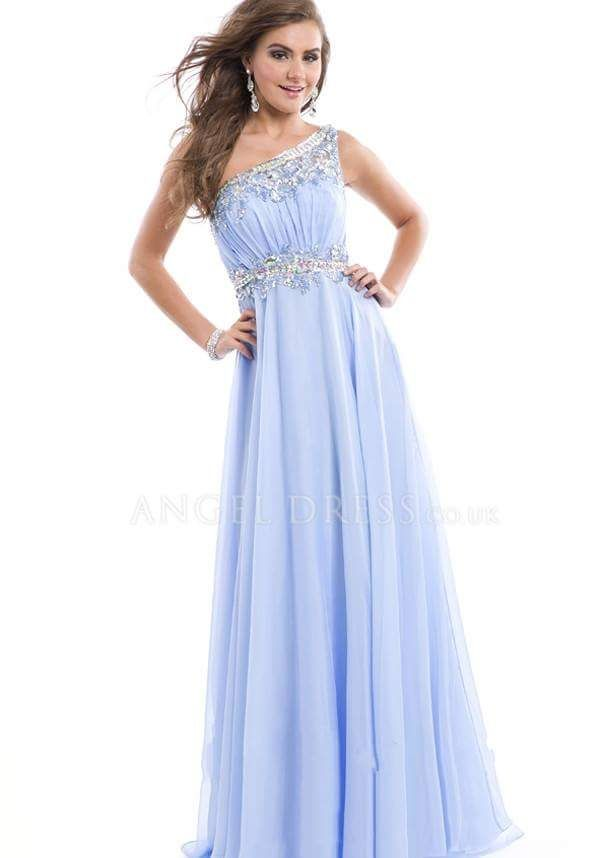 Jewelled One Shoulder Gown In Light Blue