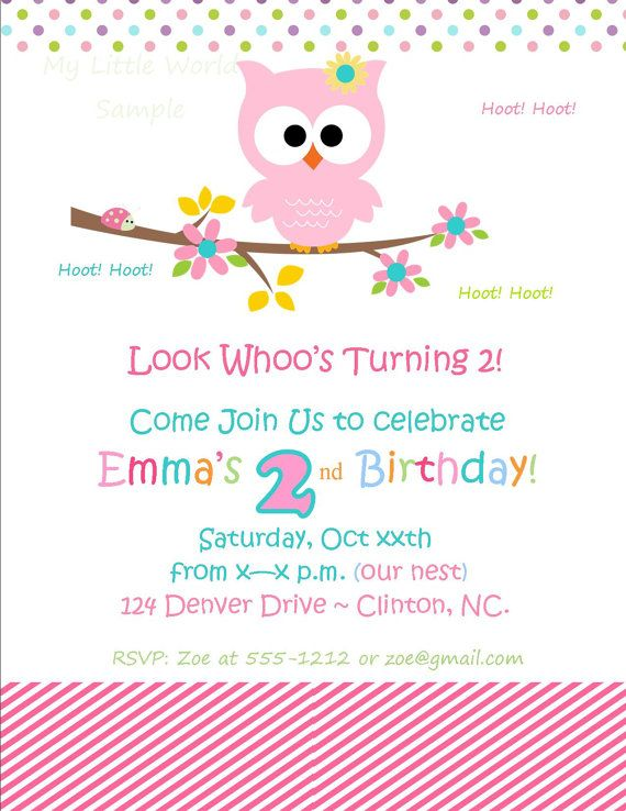 Owl Invitation with FREE matching envelope DIY by SweetPartyShoppe, $12.00