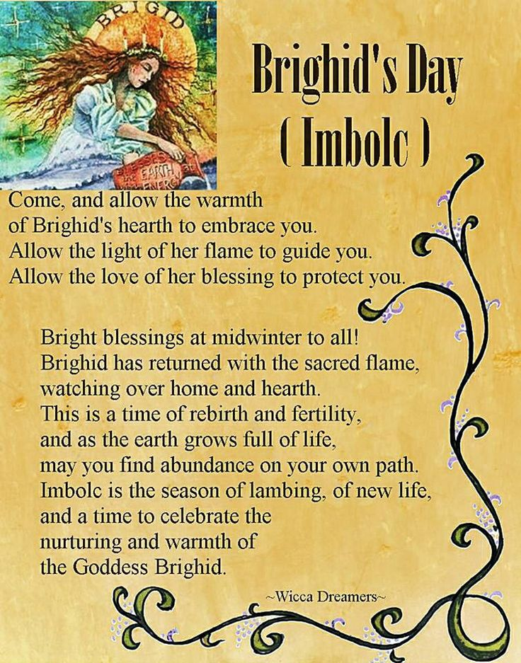 Imbolc: Brighid's Day (#Imbolc). It interests me that the poem says it's midwinter, even though Imbolc is in Feb. and midwinter is generally another name for Yule. This is what happens when people mix calendars.