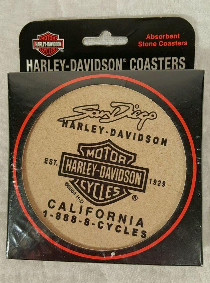 Harley Davidson San Diego Absorbent Stone Coasters NIP VTG 2006 Made in USA
