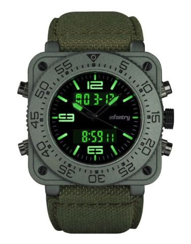 INFANTRY® Mens Analog - Digital Watch Backlight with Fabric Strap