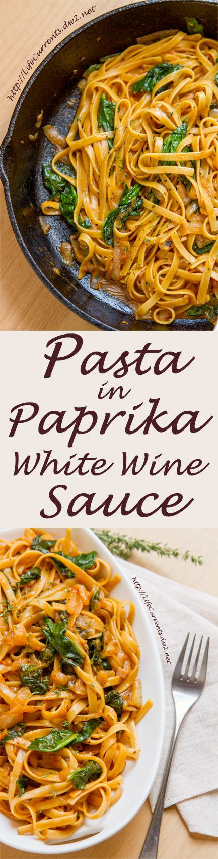 Pasta in Paprika White Wine Sauce is a great romantic vegetarian dinner