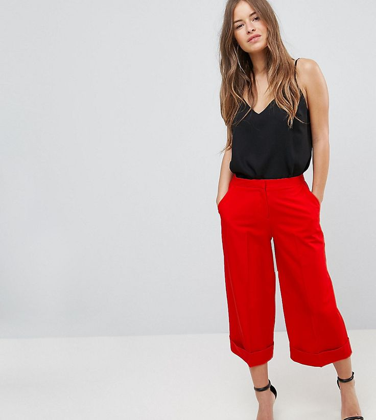 ASOS PETITE Mix & Match Tailored Clean Culotte - Red
