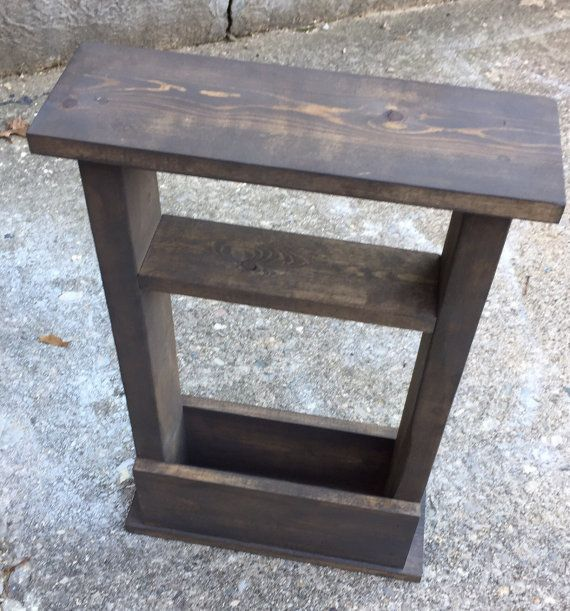 Small Space? No Problem! This skinny end table fits in any space ! -16 Long x 5.5 Wide x 24 Tall -Stained or painted in your color & lightly distressed with a smooth wax finish -Storage for magazines or books   -3.5 wide shelf for decor or remotes   Perfect for dorm decor, apartments, or any small space in your home! ----------------------------  Custom sizes available, Just ask!  Pictured Color: light gray (paint), gray-brown (stain), sedona red (stain)   **Your item will be shipped USPS…