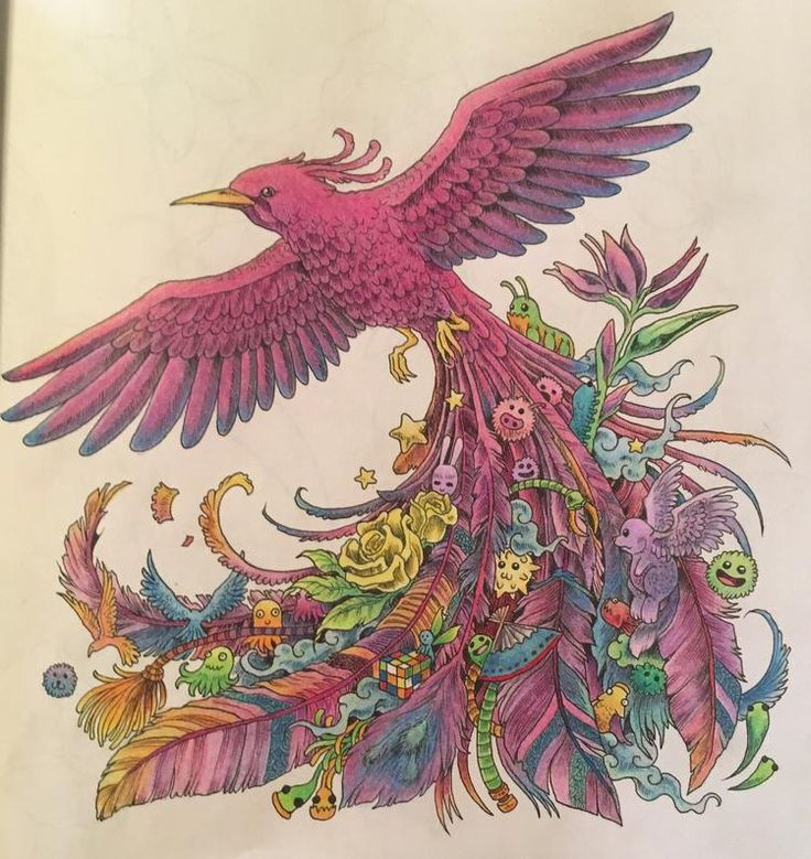 Beautiful Phoenix From The Coloring Book Animorphia I Just Pinned A Link To This Few Minutes Ago On Same Board Incredible Artwork An