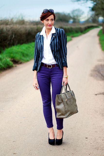 Purple skinnies & stripe blazer by Not Dressed As Lamb, via Flickr