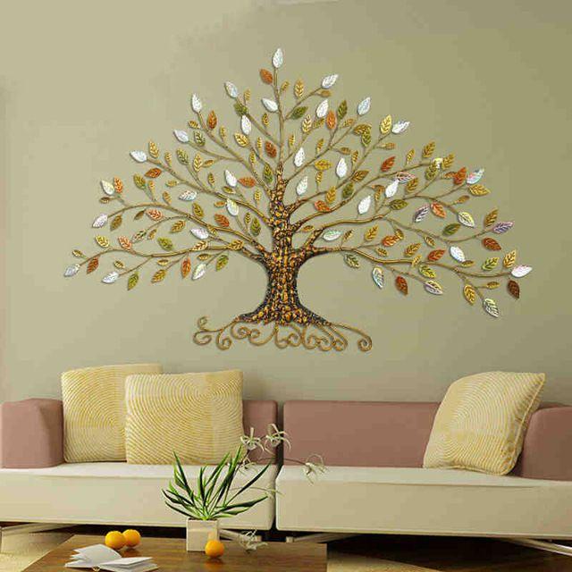 Europa forma de árvore de decoração para casa de ferro forjado 3D adesivos de parede decoração casa tv fundo da parede 3d decorativo adesivo de parede de ferro