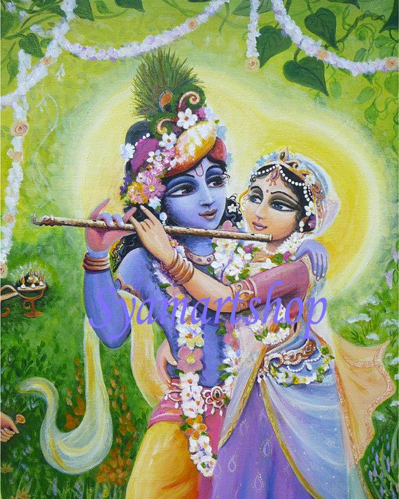 Archival reproduction from acrylic painting, Divine couple, Radha Krishna, Goddess art, India, devotional art, canvas art, print.