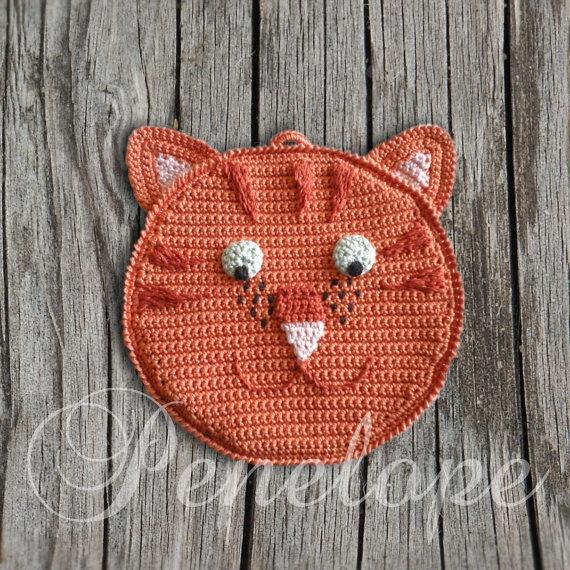 Orange Cat crochet  cat pot holder personalised by deepblue22at, £20.00Orange Cat, Crochet Cat