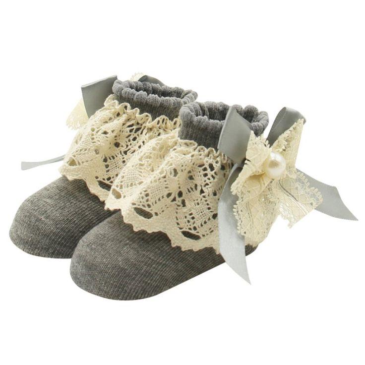 1 Par de Encaje Floral Calcetines para 0-12 Meses Lindo Niños Bebés de Algodón Arco Tobillo Calcetines Del Bebé Princesa de Las Muchachas Bowknots Calcetines