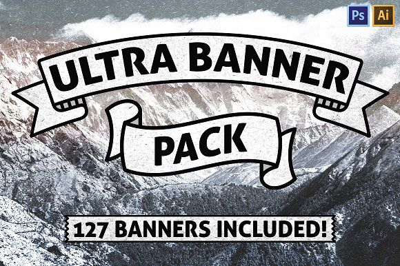 Ultra Vector Ribbon Banner clipart Pack by Matt Borchert on @creativemarket