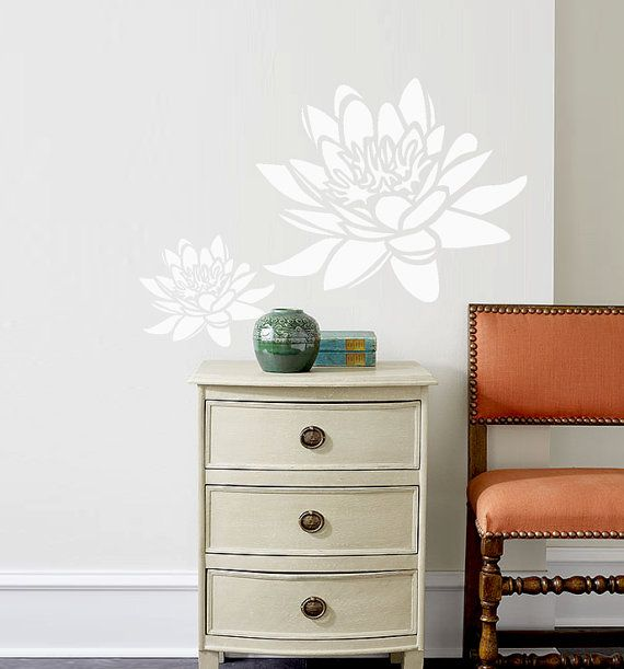 very large wall Stencils | Wall Stencil Lotus Flower Large Size Pattern Wall Room Decor Made by ...