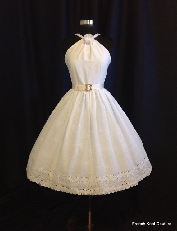 Wedding Dress Cotton WHISTLIN DIXIE Tea Length Halter