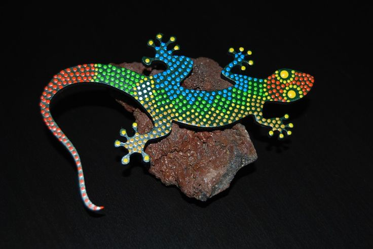 Image of Dot art painted Lizard -gecko- guaripete - tuqueque - G-08