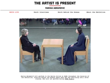 """As part of the current retrospective of her work at MoMA, Marina Abramović is performing """"The Artist is Present,"""" in which she sits in a chair at a table for the duration of the museum's opening hours and invites visitors to sit across from her for as long as they wish. Watch the performance live. Photographer Marco Anelli has been taking photos of the participants for the museum, noting the duration of their participation. #art #performance #reflection #interaction"""