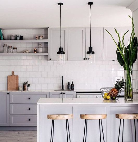 gray kitchen cabinets with white tile backsplash. / sfgirlbybay