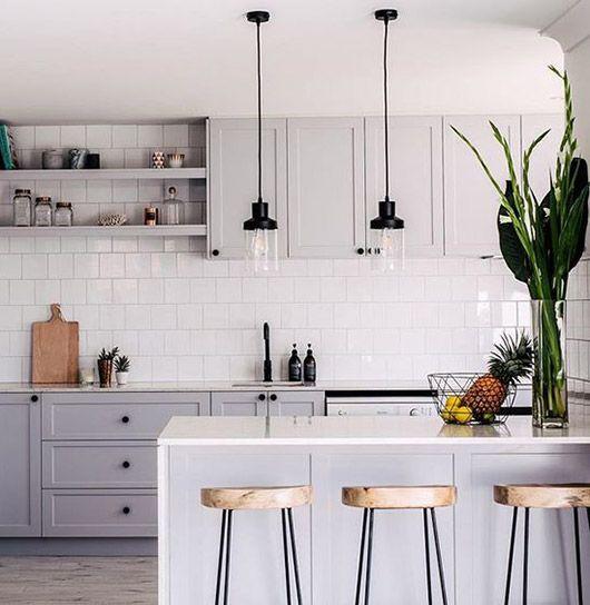 gray kitchen cabinets with white tile backsplash. / sfgirlbybay