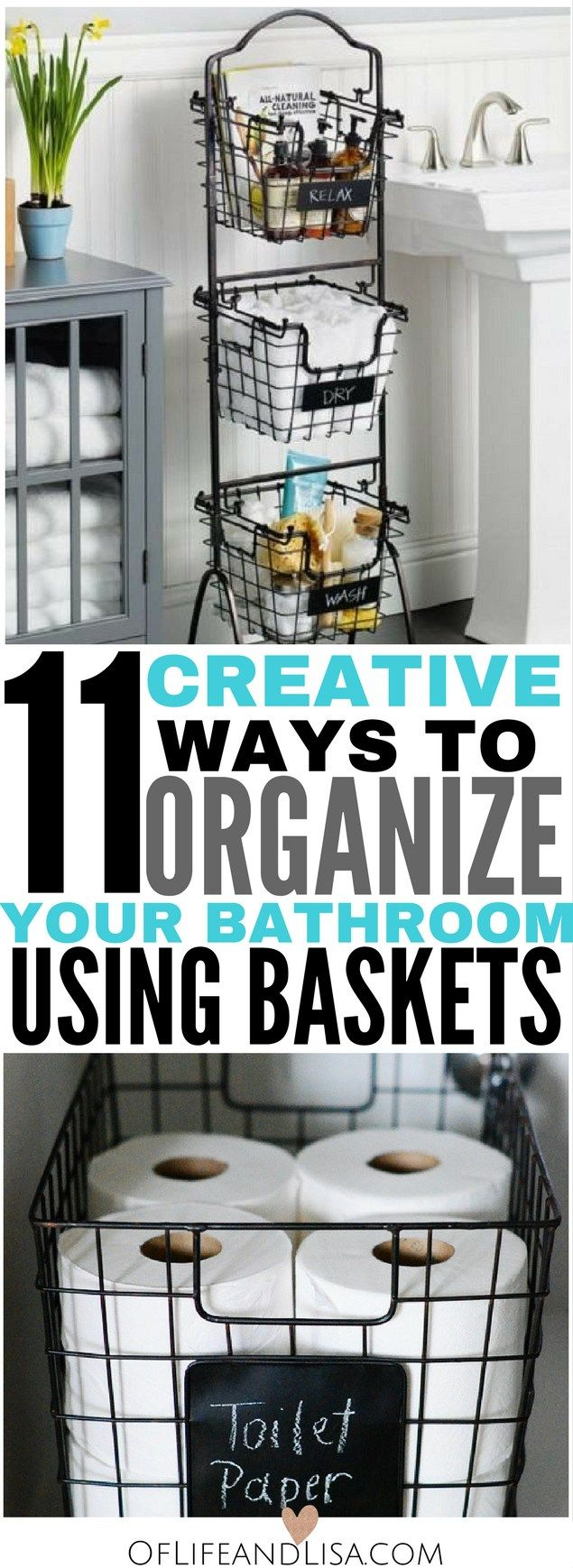 Here are 11 insanely creative bathroom storage ideas using simple baskets. Come check it out!